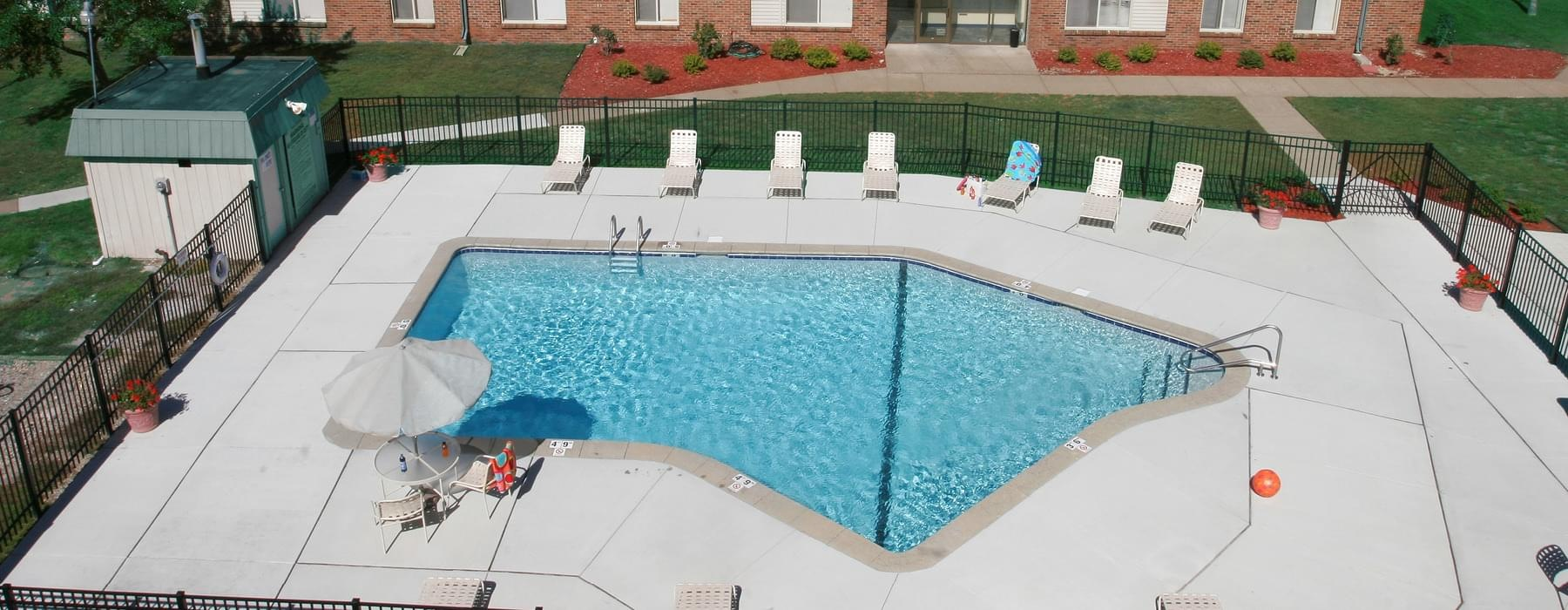 aerial view of outdoor swimming pool